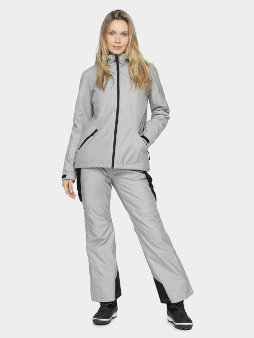 Women's ski jacket KUDN600 - cold light grey melange