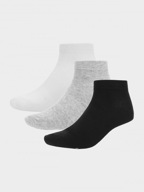 Women's socks (3 pairs) SOD600  white+cold light grey melange+deep black
